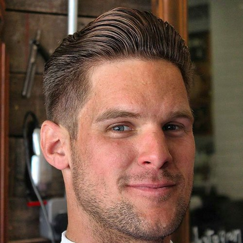 Brushed Back Hair with Tapered Sides and Beard