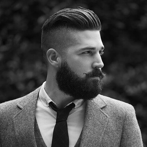 Classic Undercut with Slick Back and Beard