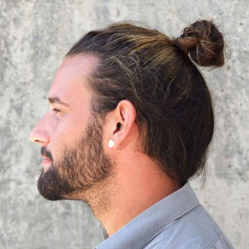 Cool Man Bun Hairstyle with Beard