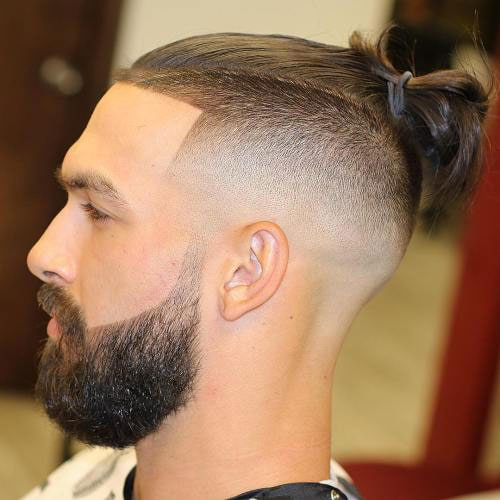 Cool Man Bun with Shaved Sides Beard