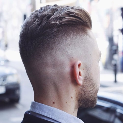 Cool Textured Slicked Back Hair with Disconnected Undercut