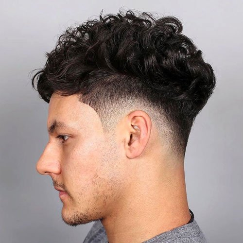 Curly Top with High Fade and Shape Up