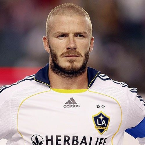 David Beckham Buzz Cut and Beard