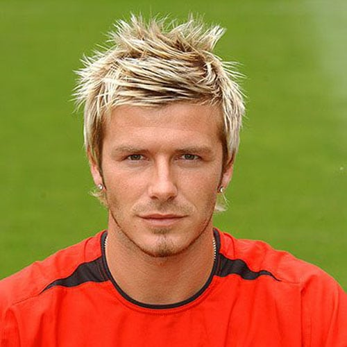 David Beckham Hairstyle - Messy Spiked Hair with Highlights