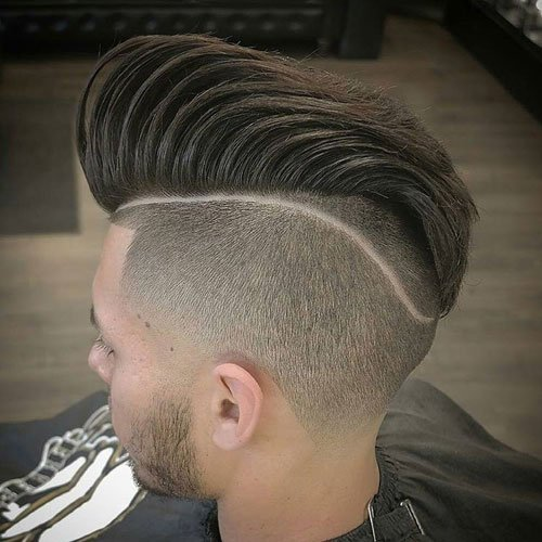Disconnected Undercut Pompadour with Tram Line