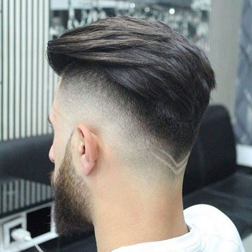 Drop Fade Haircut With V Shaped Neckline