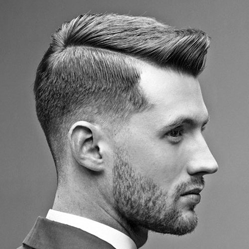 Gentleman Haircut - Low Fade with Side Part and Brush Up