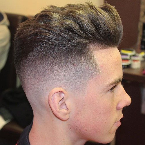 High Skin Fade with Edge Up and Brushed Back Hair