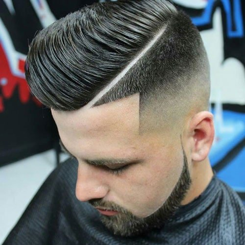 High Skin Fade with Hard Side Part and Shape Up
