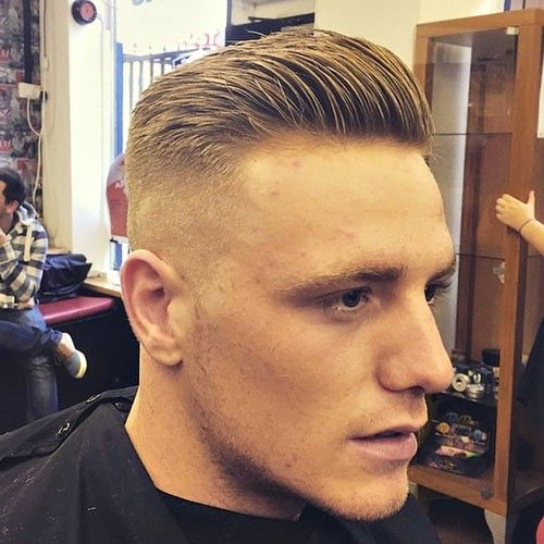 High and Tight Haircut - Bald Fade with Slicked Back Hair