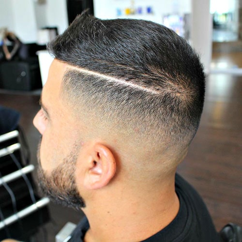 High and Tight Haircut - Mid Fade with Hard Part and Brush Up