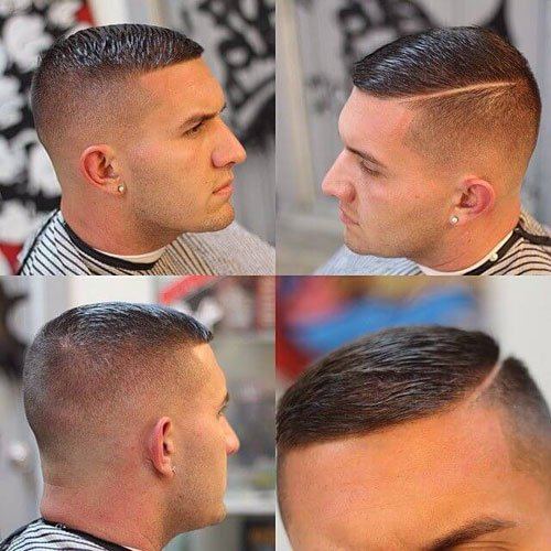High And Tight Hairstyle   Skin Fade With Hard Side Part