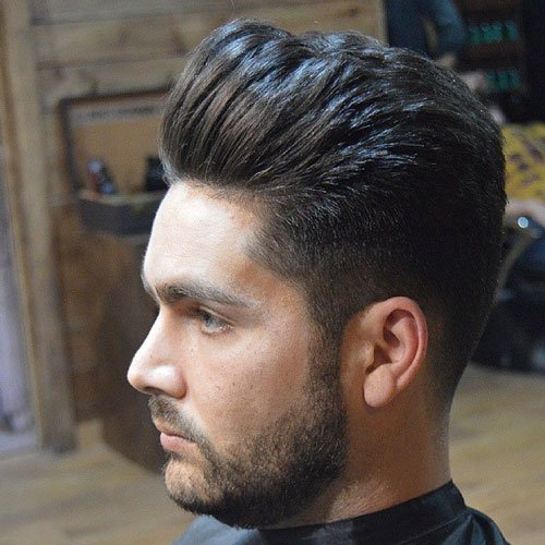 Long Brushed Up Hair with Taper Cut