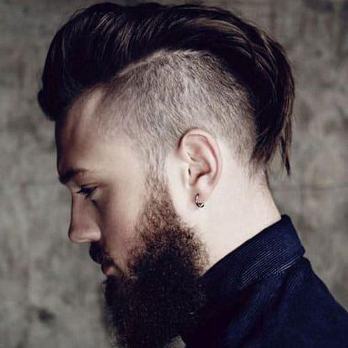 Long Slick Back Undercut with Beard
