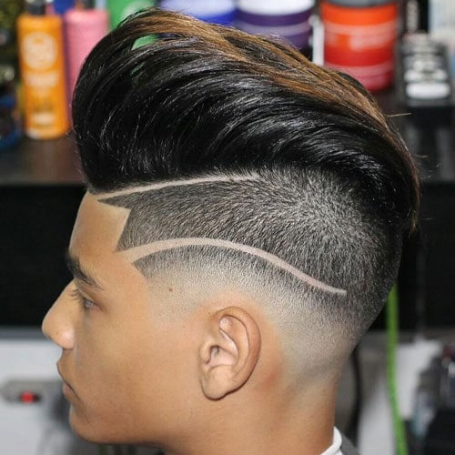 Long Undercut Pompadour with Hair Design