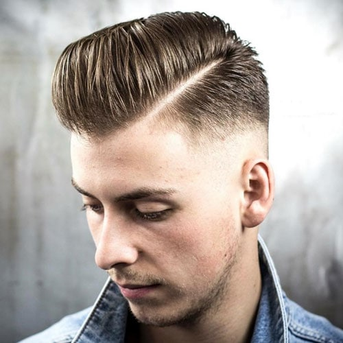 Low Skin Fade with Pompadour and Hard Part