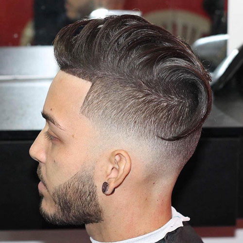 Low Skin Fade with Shape Up and Long Comb Over