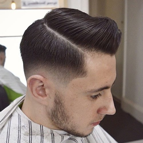 Low Taper Fade with Hard Side Part