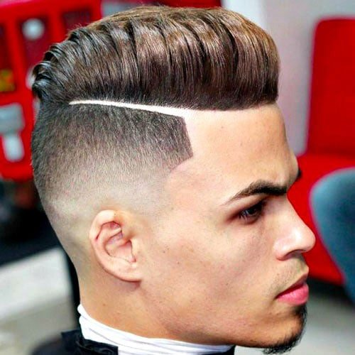 Men's Disconnected Undercut with Thick, High Pompadour