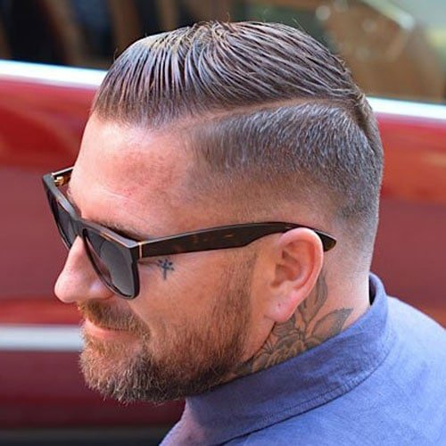 Men's Slicked Side Part with Fade