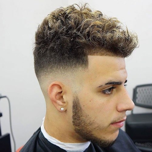 Mid Skin Fade and Line Up with Short Curly Hair