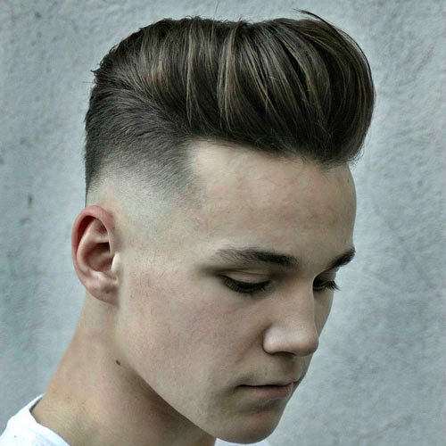 Modern Pompadour with Mid Skin Fade