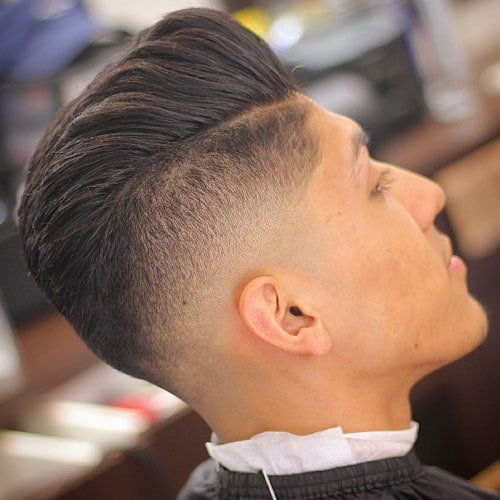 Pompadour with Bald Drop Fade