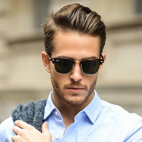 Lovely Professional Haircuts For Men   Short Sides With Brushed Back Hair