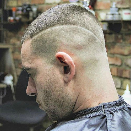 Shaved Sides with Buzz Cut Top and Hair Design