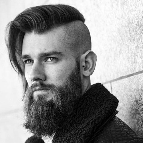 Side Part Undercut with Beard