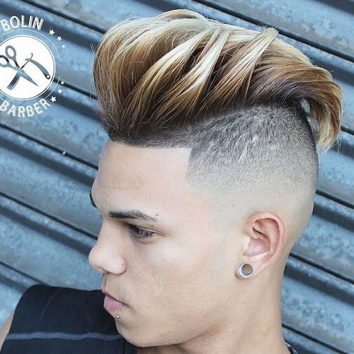 Slicked Back Pompadour with Undercut and Shape Up