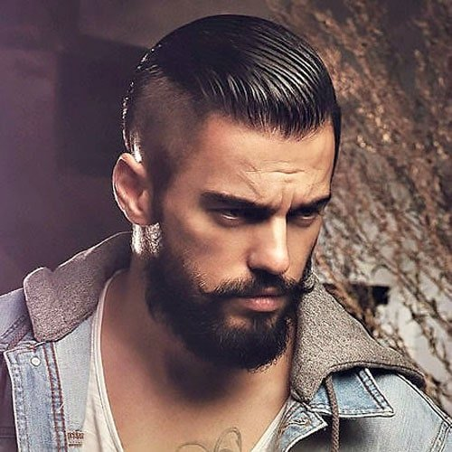 Slicked Back Undercut and Beard