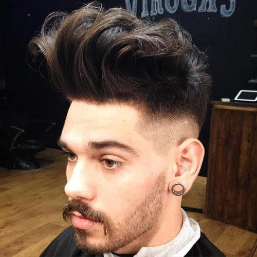 Thick High Quiff Hairstyle with High Fade and Beard