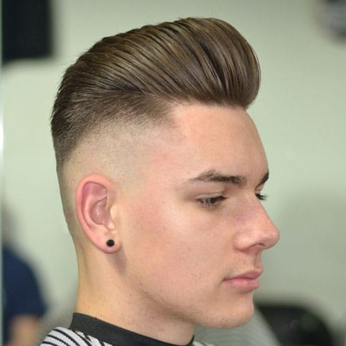 Thick Modern Pompadour with Bald Fade