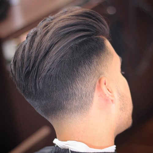 Thick Textured Slick Back with Mid Fade