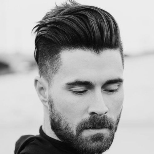 Undercut Hairstyle - Textured Slick Back with Beard