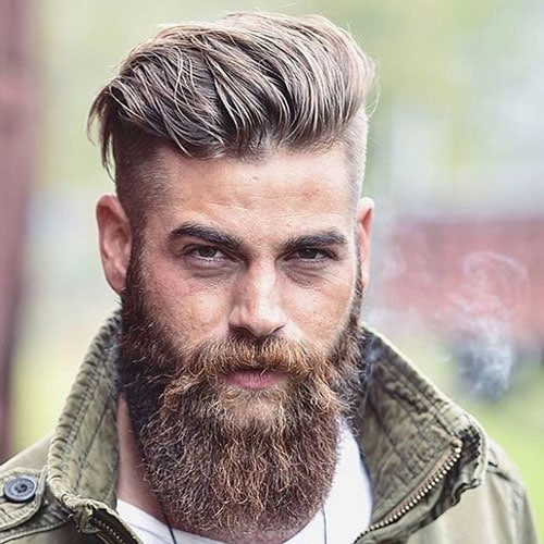 Undercut with Brushed Back Hair and Full Beard