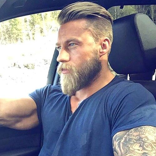 Undercut with Slicked Back Hair and Beard
