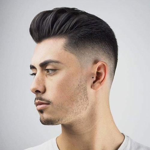 Brushed Back Pomp + Taper Fade