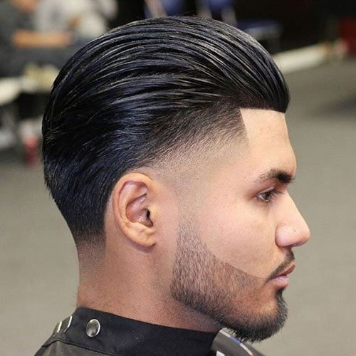 Low Drop Fade + Line Up + Shiny Slicked Back Top