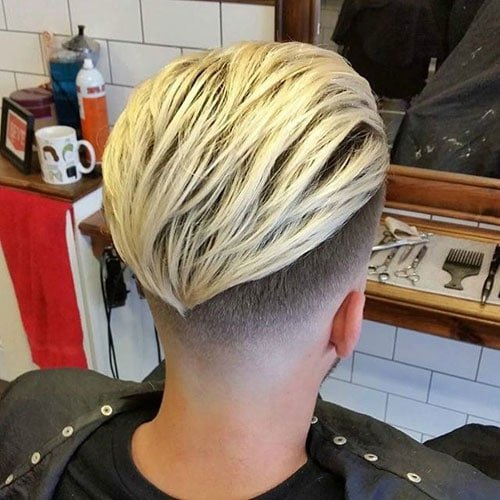 Low Fade with Long Slick Back