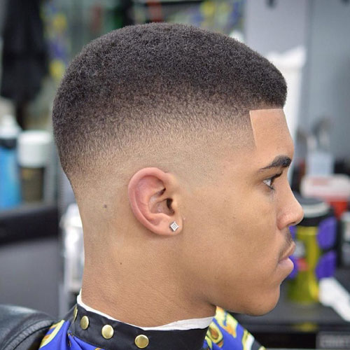 Short Afro Fade with Edge Up