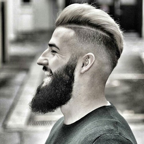 Slick Back Fade - High Fade with Hard Part and Textured Slick Back