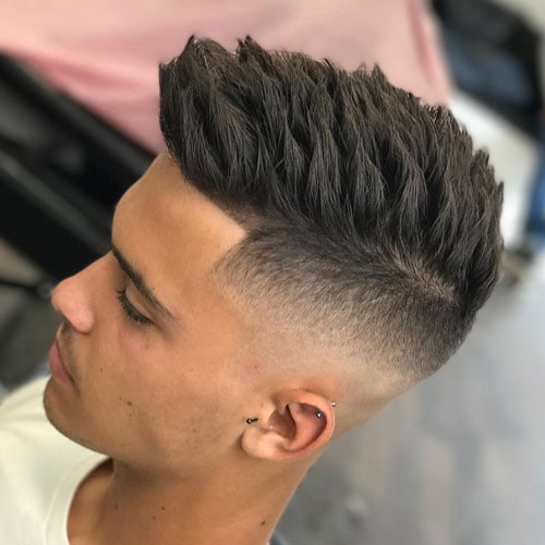 Temple Fade Haircut with Textured Spiky Hair
