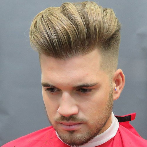 Thick Textured Slick Back Fade
