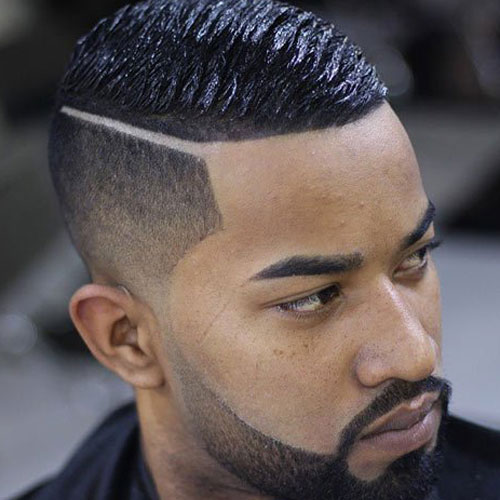 Black Men's Haircut - High Taper Fade with Wave Cut and Hard Part