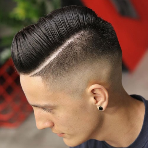 Haircut with Part - High Skin Fade and Shape Up with Hard Part Comb Over