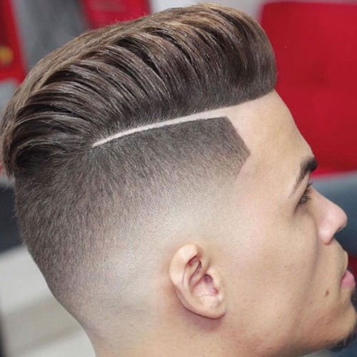 Haircuts with Parts - Textured Pompadour with Hard Part and High Skin Fade