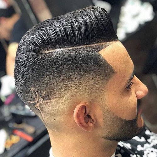 High Skin Fade + Line Up + Hard Part Pomp