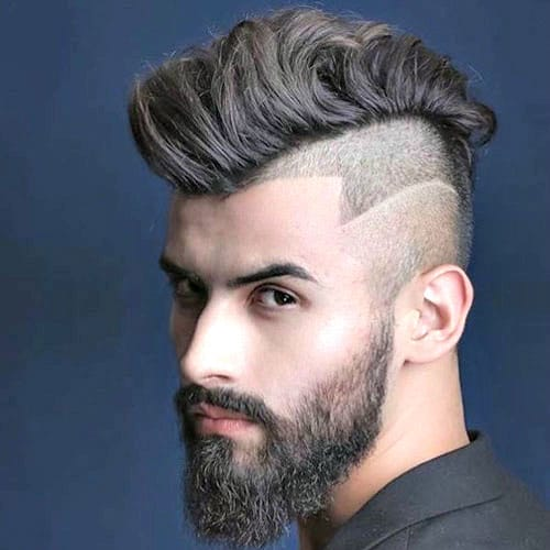 Long Faded Mohawk with Design and Beard